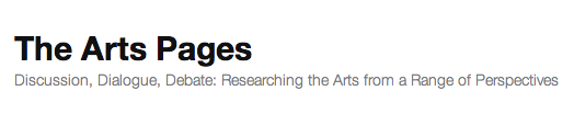 The Arts Pages banner