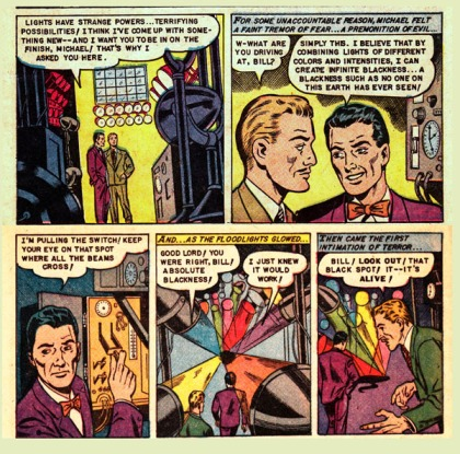 "Pencils by Dick Beck, ""Out of Blackness They Come!"", Web of Mystery 18, May 1953; Scan by Stupid Comics"