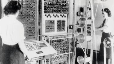 Wrens operating the Colossus computer, 1943. Photo: Bletchley Park Trust/Science and Society Picture Library, via BBC