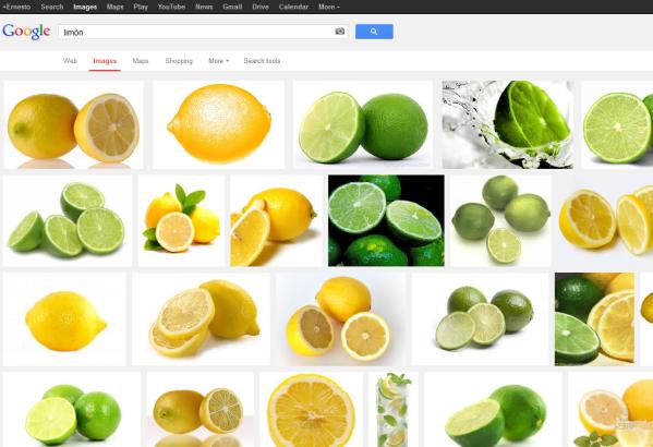 """Captura de pantalla de la búsqueda """"limón"""" en Google Images, mostrando lemons and limes"""