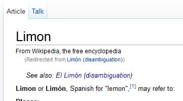 "Captura de pantalla de un fragmento de la entrada para ""Limon"" (sic) en Wikipedia en español"