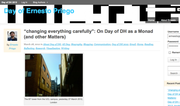 Screen shot of my Day of DH 2012 blog, including customised banner, About Page, etc.