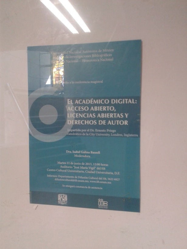"Poster for ""El académico digital"" inside the National Library, UNAM, México"
