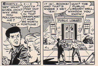 "From ""Mystery of the Million-Dollar Briefcase"", author and source unknown, United States, 1960s. Panels 5-6. Via Nick Page (16 February 2011)."