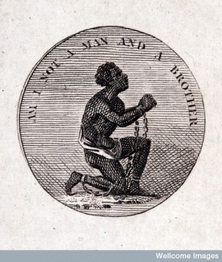 Credit: Wellcome Library, London Cameo made by J. Wedgwood of a slave in chains: 'Am I Not a Man and Brother' From: The poetical works of Erasmus Darwin By: Erasmus Darwin Published: J. JohnsonLondon  1806