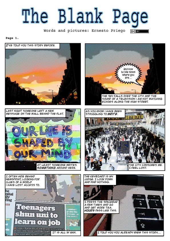 The Blank Page (page 1).London is a real city that has been descibed as 'unreal'.  The situations, settings and characters in 'The Blank Page' are entirely fictitious.