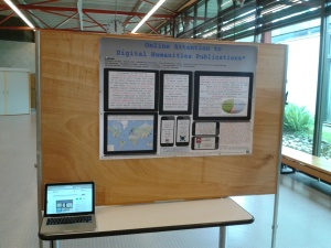 Photo of the Online Attention to Digital Humanities Publications (#DH2014) poster as set up in the exhibition space