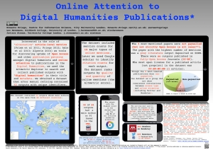 Priego, Ernesto; Havemann, Leo; Atenas, Javiera (2014): Online Attention to Digital Humanities Publications (#DH2014 poster). figshare. http://dx.doi.org/10.6084/m9.figshare.1094345