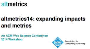 """Altmetrics14: expanding impacts and metrics"" (#altmetrics 14) was an ACM Web Science Conference 2014 Workshop that took place on June 23, 2014 in Bloomington, Indiana, United States, between 10:00AM and 17:50 local time."