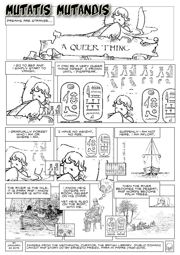 Click to enlarge. Mutatis Mutandis #1 A comic by Ernesto Priego. Images from the Mechanical Curator, the British Library  (public domain)  Layout and story CC-BY Ernesto Priego.