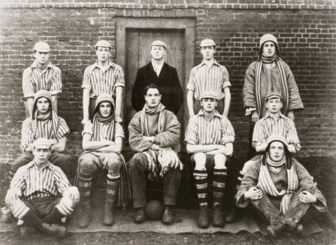 Eton wall game, 1921. Orwell is on the back row, first on left. University College London George Orwell Archive – Special Collections