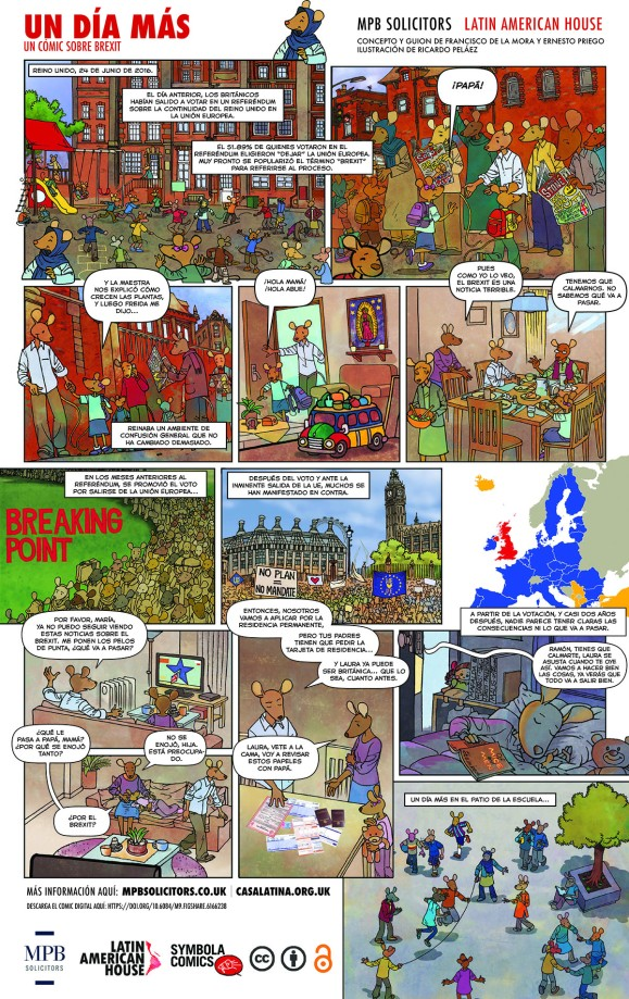 de la Mora, F., Priego, E., Peláez, R., Behar, M. P., and Rocha, D., 2018. Un día más: un cómic sobre Brexit. Available from: https://doi.org/10.6084/m9.figshare.6166238