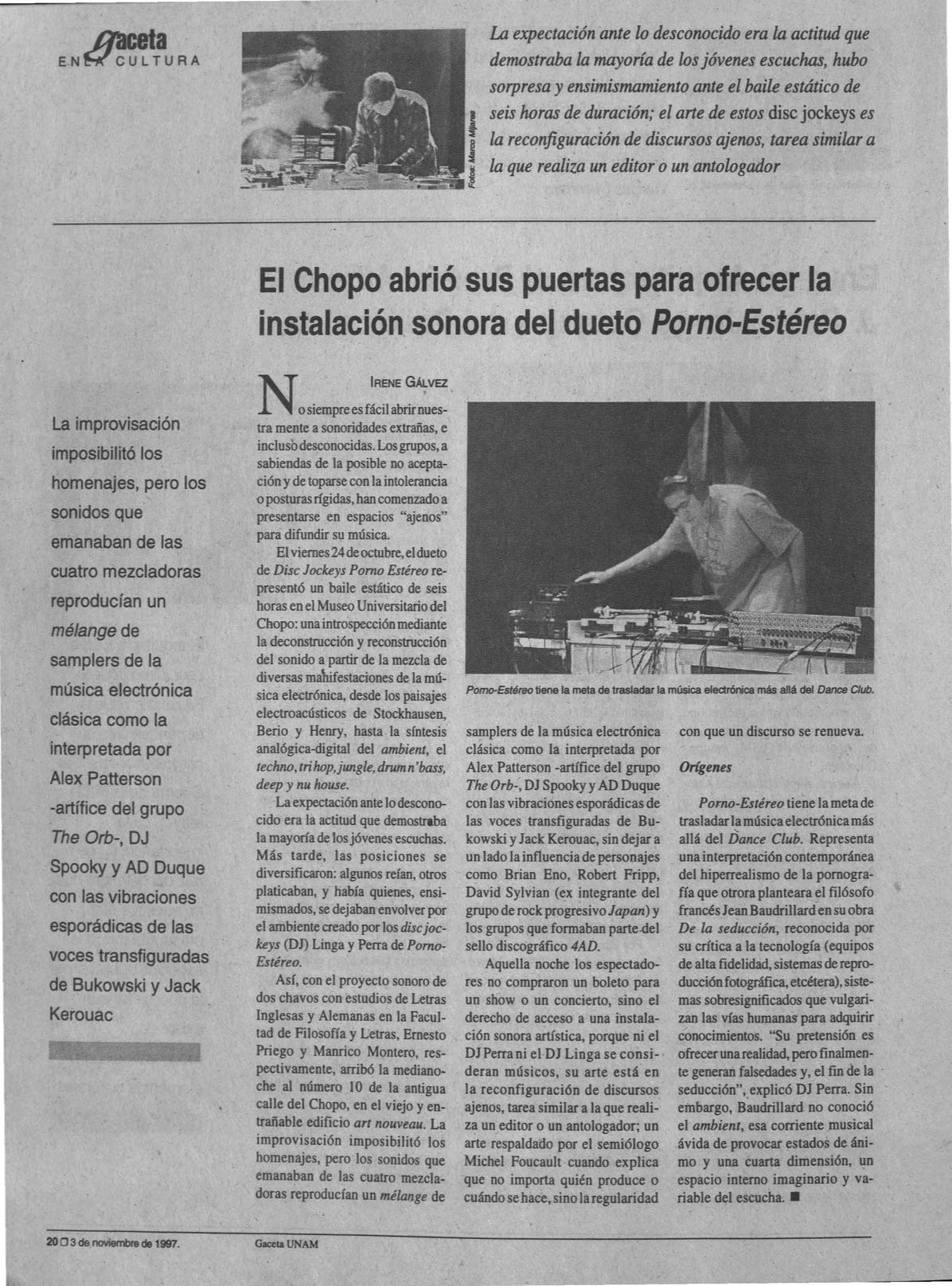 EL CHOPO ABRIÓ SUS PUERTAS PARA OFRECER LA INSTALACIÓN SONORA DEL DUETO PORNO-ESTÉREO