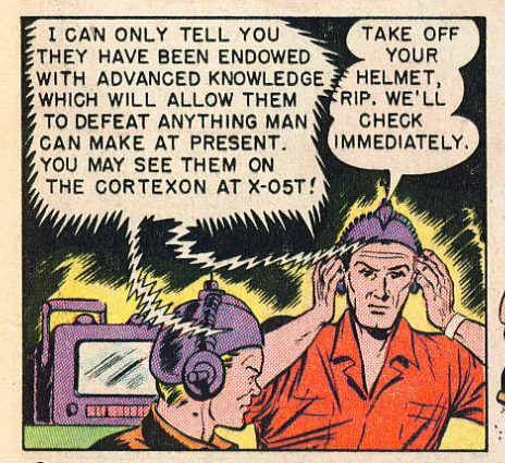 """Panel from """"Traitors to the Earth"""", Captain Science #1, November 150; pencils by Gustav Schrotter, edited by Adolphe Barreaux. Public domain."""