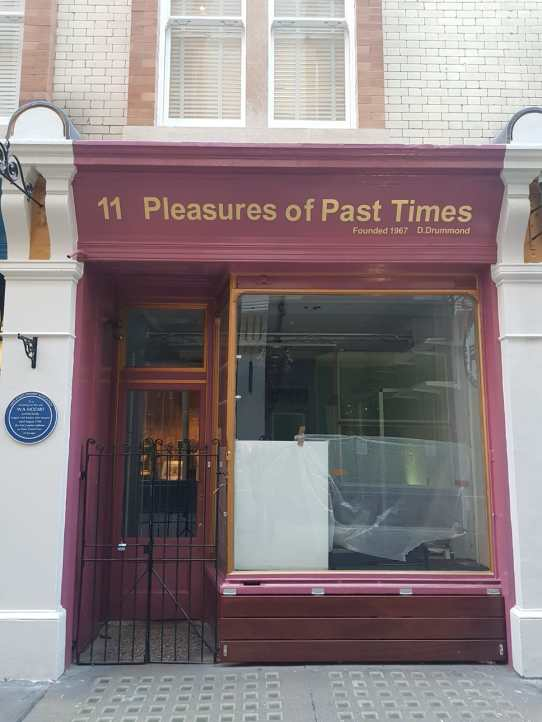 Storefront of Pleasures of Past Times,  11 Cecil Court, London WC2N 4EZ