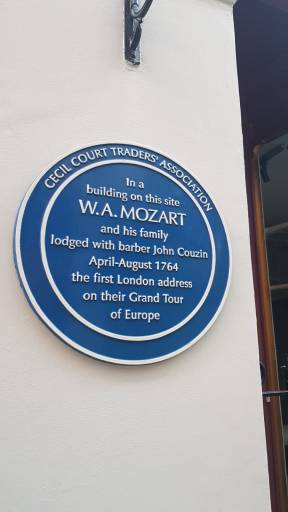 "11 Cecil Court blue plaque, ""In a building on this site W.A. Mozart and his family lodged in April-August 1764"