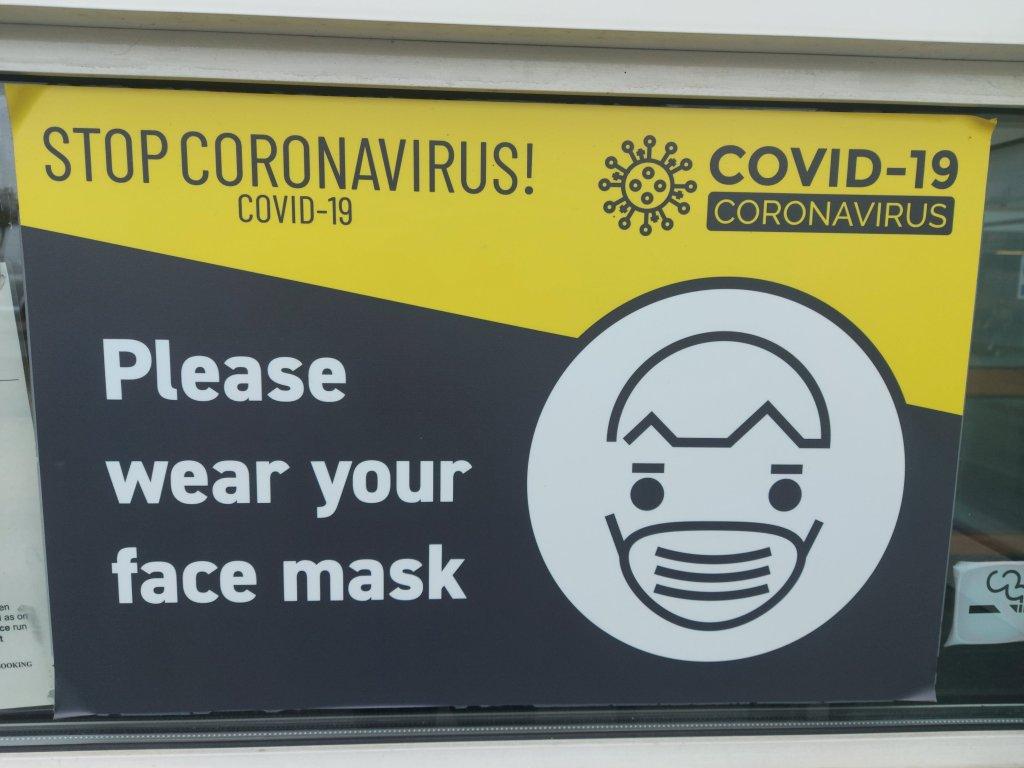 Sign outside clinc. Stop Coronavirus Please Wear a Mask